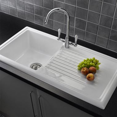 Reginox 1 Bowl White Ceramic Kitchen Sink & Waste Kit with Reversible Drainer - 1010 x 530mm